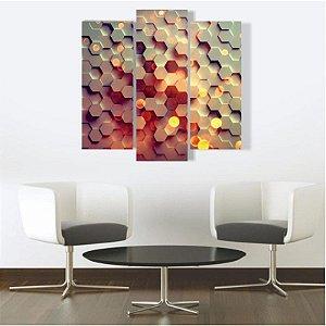 Quadro Mosaico Decoração Abstrato 3 Peças Mdf Mod 06