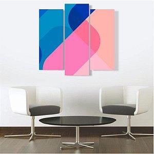 Quadro Mosaico Decoração Abstrato 3 Peças Mdf Mod 09