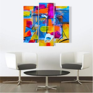 Quadro Mosaico Decoração Abstrato 3 Peças Mdf Mod 10