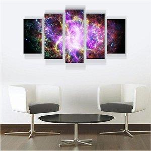 Quadro Mosaico Decoração Universo 5 Peças Mdf Mod 01