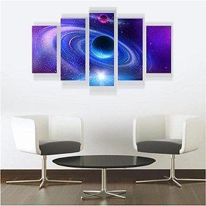 Quadro Mosaico Decoração Universo 5 Peças Mdf Mod 02