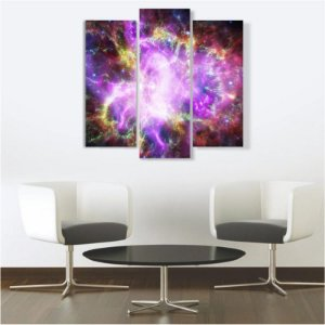 Quadro Mosaico Decoração Universo 3 Peças Mdf Mod 01