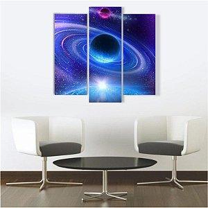 Quadro Mosaico Decoração Universo 3 Peças Mdf Mod 02