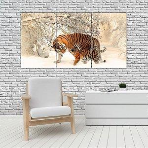 Quadro Mosaico Decoração Animal 121x65 com 3 Peças Mod 02