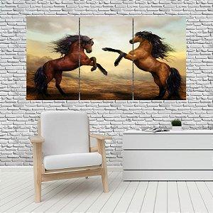 Quadro Mosaico Decoração Animal 121x65 com 3 Peças Mod 08