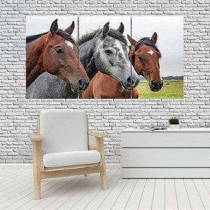 Quadro Mosaico Decoração Animal 121x65 com 3 Peças Mod 09