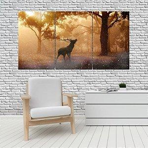 Quadro Mosaico Decoração Animal 121x65 com 3 Peças Mod 11