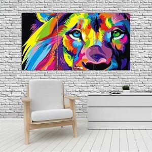 Quadro Mosaico Decoração Animal 121x65 com 3 Peças Mod 21