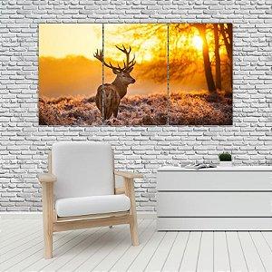 Quadro Mosaico Decoração Animal 121x65 com 3 Peças Mod 26