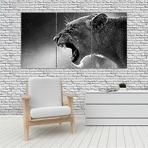 Quadro Mosaico Decoração Animal 121x65 com 3 Peças Mod 28
