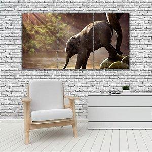 Quadro Mosaico Decoração Animal 121x65 com 3 Peças Mod 39