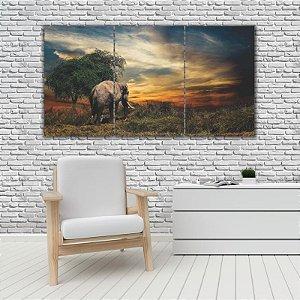 Quadro Mosaico Decoração Animal 121x65 com 3 Peças Mod 64