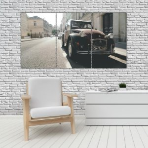 Quadro Mosaico Decoração Carros 121x65 com 3 Peças Mod 22