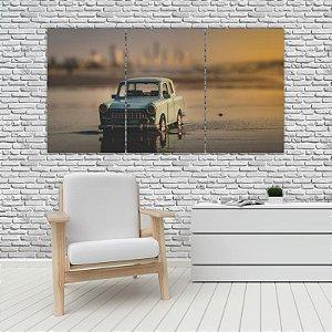 Quadro Mosaico Decoração Carros 121x65 com 3 Peças Mod 33