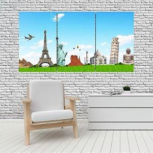 Quadro Mosaico Decoração Cidades 121x65 com 3 Peças Mod 02