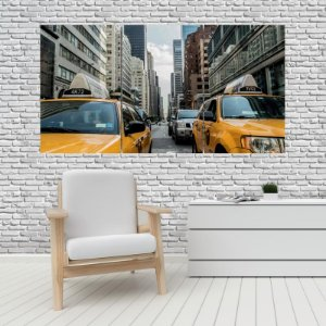 Quadro Mosaico Decoração Cidades 121x65 com 3 Peças Mod 07