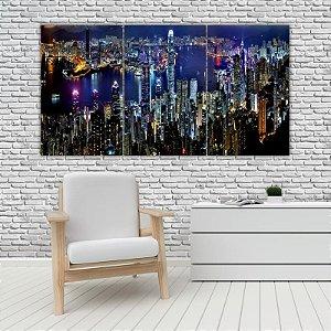 Quadro Mosaico Decoração Cidades 121x65 com 3 Peças Mod 08