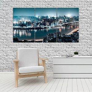 Quadro Mosaico Decoração Cidades 121x65 com 3 Peças Mod 09