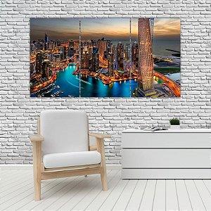 Quadro Mosaico Decoração Cidades 121x65 com 3 Peças Mod 10