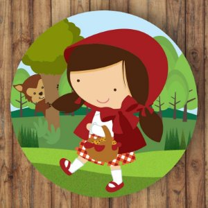 Painel Tecido Redondo Chapeuzinho Vermelho Decoração Festa 02