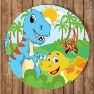 Painel Tecido Redondo Dinossauro Cute Decoração Festa 02