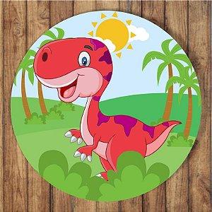 Painel Tecido Redondo Dinossauro Cute Decoração Festa 08