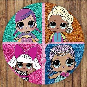 Painel Tecido Redondo Lol Glitter Decoração Festa 01