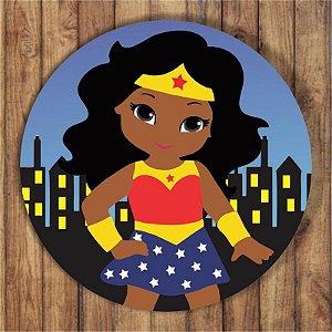 Painel Tecido Redondo Mulher Maravilha Negra Decoração Festa 02