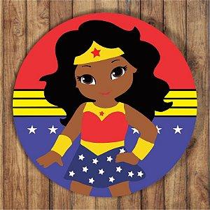 Painel Tecido Redondo Mulher Maravilha Negra Decoração Festa 03