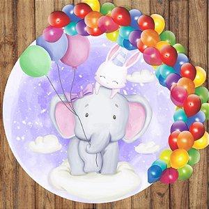 Painel Tecido Redondo Elefante Cute Decoração Festa 01