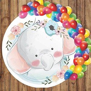 Painel Tecido Redondo Elefante Cute Decoração Festa 02