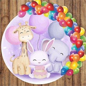 Painel Tecido Redondo Elefante Cute Decoração Festa 03