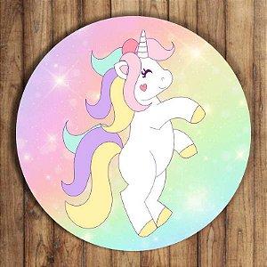 Painel Tecido Redondo Unicornio Decoração Festa 01