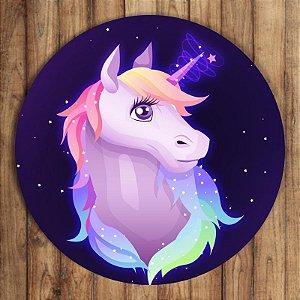 Painel Tecido Redondo Unicornio Decoração Festa 06