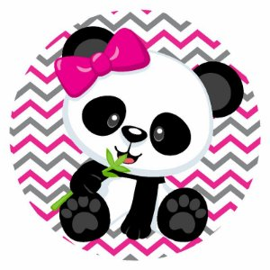 Painel Tecido Redondo Panda Menina Decoração Festa 05