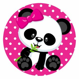 Painel Tecido Redondo Panda Menina Decoração Festa 06