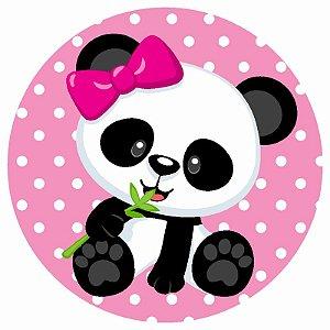Painel Tecido Redondo Panda Menina Decoração Festa 07