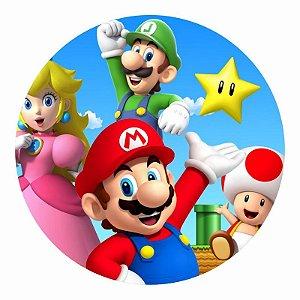 Painel Tecido Redondo Super Mario Decoração Festa 03