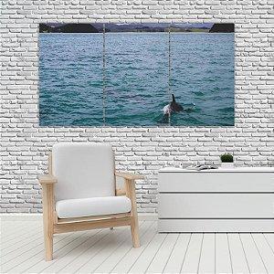 Quadro Mosaico Decoração Animal 121x65 com 3 Peças Mod 71