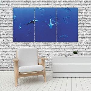 Quadro Mosaico Decoração Animal 121x65 com 3 Peças Mod 75