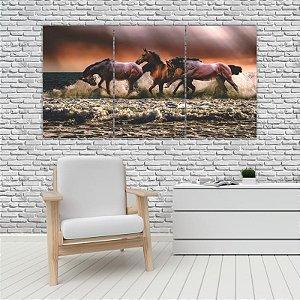 Quadro Mosaico Decoração Animal 121x65 com 3 Peças Mod 76
