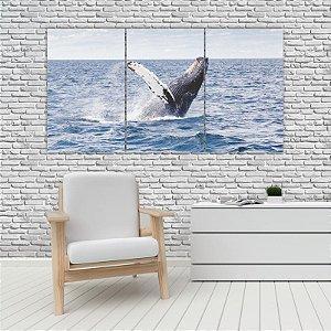 Quadro Mosaico Decoração Animal 121x65 com 3 Peças Mod 83