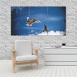 Quadro Mosaico Decoração Animal 121x65 com 3 Peças Mod 92