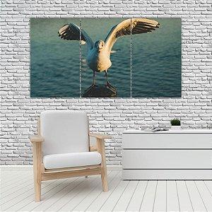 Quadro Mosaico Decoração Animal 121x65 com 3 Peças Mod 96