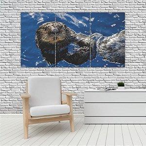 Quadro Mosaico Decoração Animal 121x65 com 3 Peças Mod 07