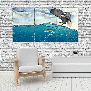 Quadro Mosaico Decoração Animal 121x65 com 3 Peças Mod 100