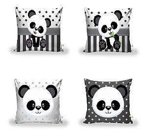 Kit 4 Capa Almofada Decorativa Panda Baby Decoração Casa