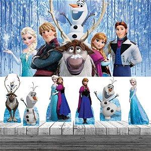 Kit Festa Frozen Elsa Olaf 6 Display + Painel Aniversário
