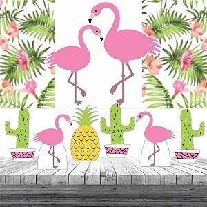 Kit Festa Flamingo Tropical 6 Display + Painel Aniversário