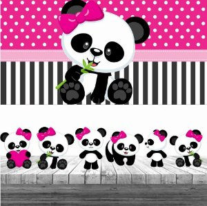 Kit Panda Menina Display + Painel Aniversário Festa